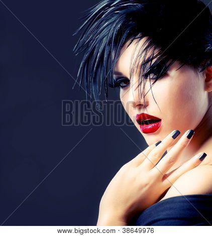 Fashion Art Girl Portrait. Punk Style Woman