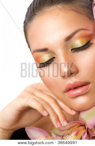 Beautiful Woman Face.Perfect Makeup.Professional Make-up.