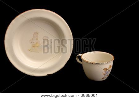 Antique Child\'S Enamel Plate And Cup
