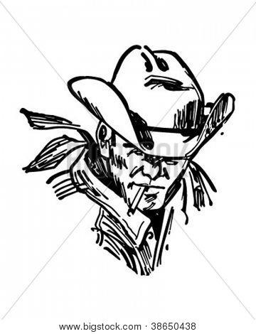 坚固耐用的牛仔-复古剪贴画的插图