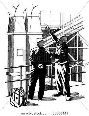 Plant Supervisors - Retro Clipart Illustration