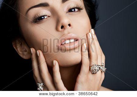 elegant fashionable woman with jewellery