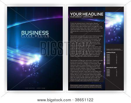 Modelo de folheto de negócios 3D fibras ópticas | Layout vetoriais editáveis