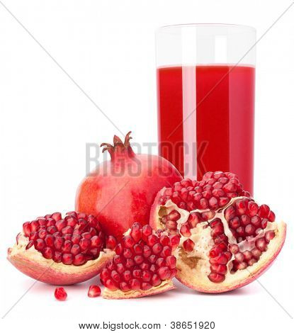 Ripe pomegranate fruit juice glass isolated on white background cutout