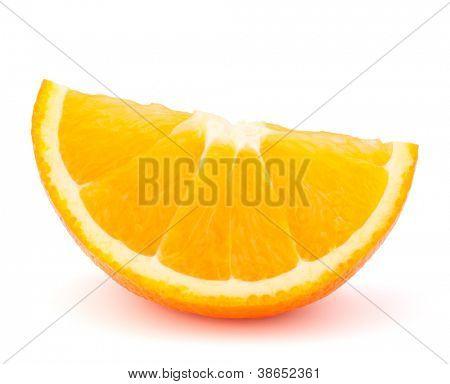 One orange fruit segment or cantle isolated on white background cutout