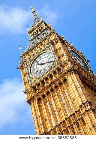 Close up of Big Ben Clock Tower Against Blue Sky England United Kingdom