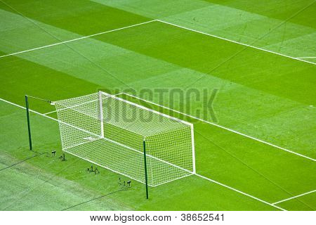 Stadium Goal Preparation for Football soccer match