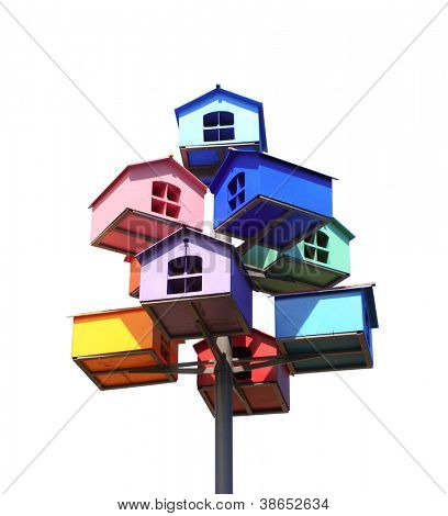 Colorful nesting boxes. Isolated over white