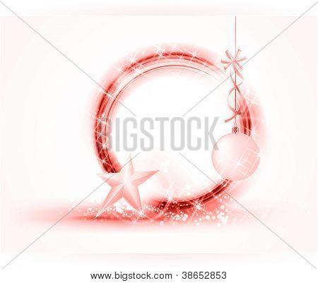 Multiple semitransparent rings form a round frame. Little stars and light effects give it a festive feeling. Added are a hanging bauble with ribbon and standing star at the bottom.