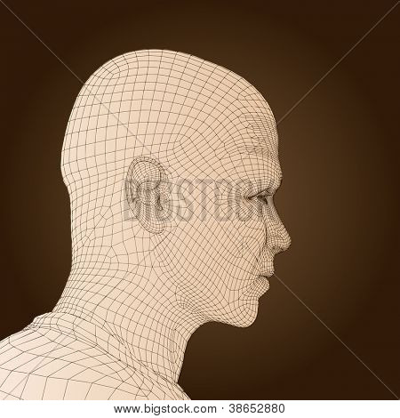 High resolution concept or conceptual 3D wireframe human male or man head isolated on background as metaphor for technology,cyborg,digital,virtual,avatar,science,fiction, future,mesh,vintage abstract