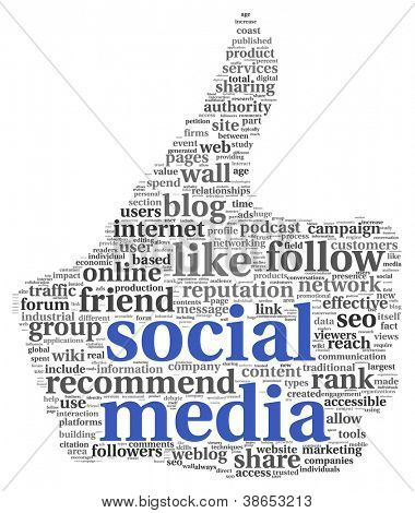 Conceito de mídia social no polegar símbolo no fundo branco