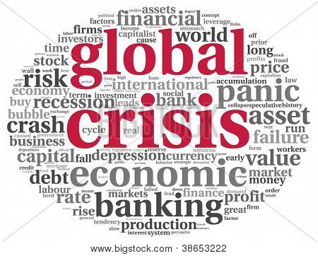 Global crisis concept in info-text graphics on white background