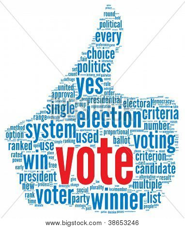 Vote in presidential election concept in word tag cloud on white background