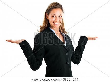 Young woman with open arms isolated on white