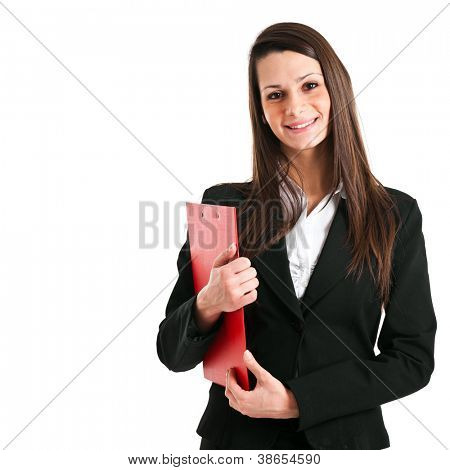 Beautiful businesswoman portrait isolated on white