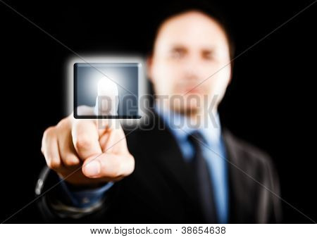 Businessman using a touch screen