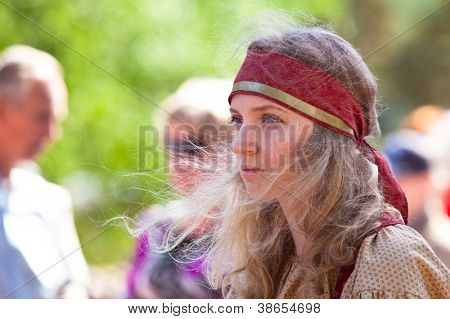 VINNICI, LEN.REGION, RUSSIA - JUNE 10: Unidentified participant at annual holiday Vepsian (Small Russian People) national culture Tree of Life (vepssk.Elo-pu), June 10, 2012 in Vinnici, Russia.