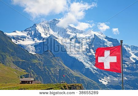 Famous mount Jungfrau in the swiss alps