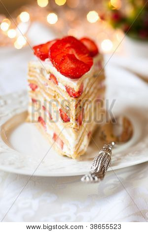 cake with cream and strawberry for holiday