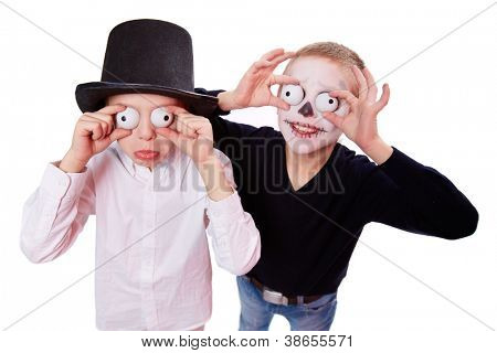 Photo of two eerie boys frightening people on Halloween