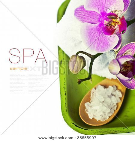 Orchid Spa Composition- Spa and healthcare concept (with easy removable sample text)