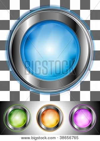 Glossy colourful buttons with the same illumination. May be applied to any background. Vector design eps 10