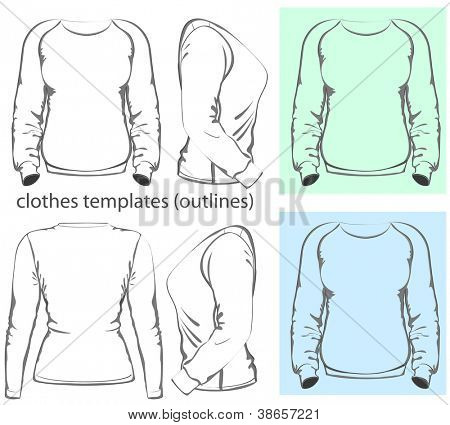 Vector. Women's t-shirt design template (front, back and side view). Long raglan sleeve. outline