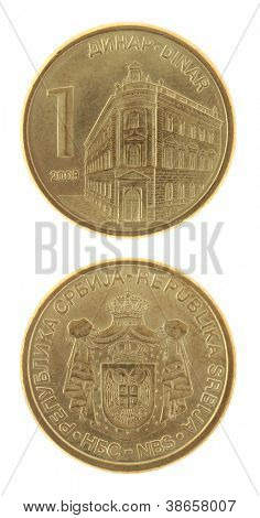 Serbian one dinar coin isolated on white