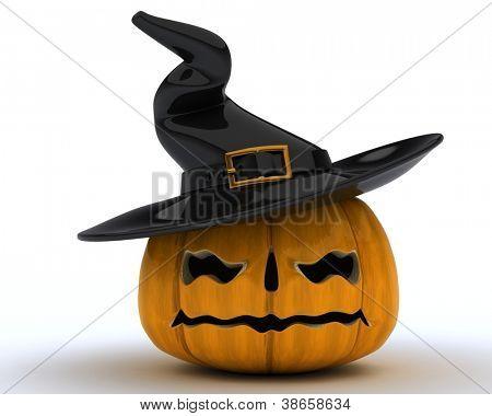 3D Render of carved pumpkin Jack o Lantern