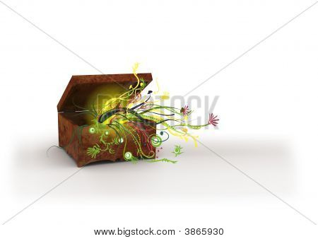 Wooden Chest With Flowers