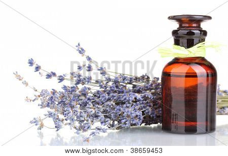 Lavendel Blumen und Glasflasche, isolated on white