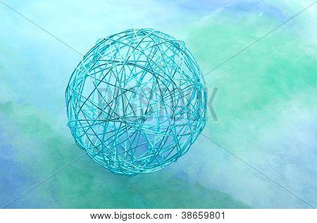 beautiful decorative ball, on blue background