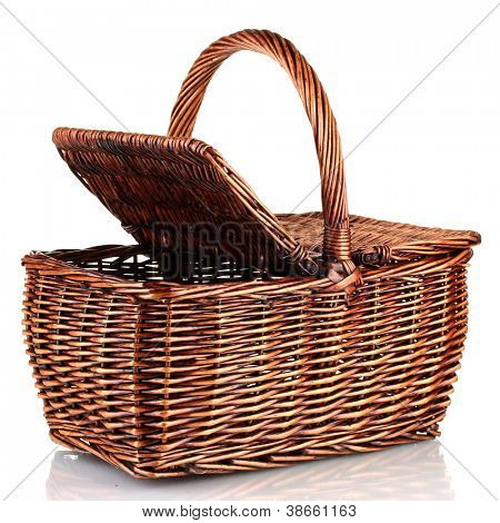 Picnic basket, isolated on white