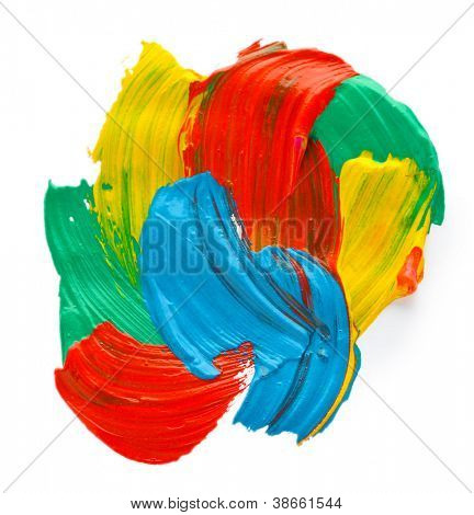 Abstract gouache paint, isolated on white