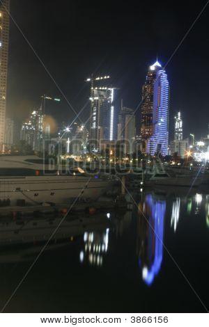 Dubai Marina Night Lights Reflections