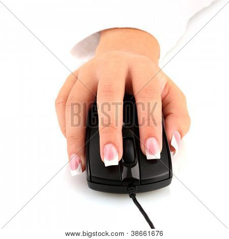 woman's hands pushing keys of pc mouse, on white background close-up