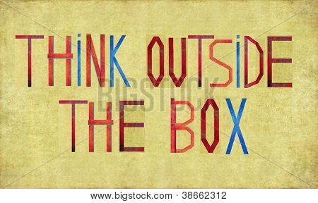 """Earthy background and design element depicting the word """"think outside the box"""""""