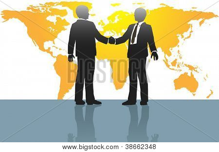 Business people handshake on global deal in front of world map
