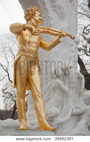 VIENNA- FEB 19: Johann Strauss statue near trees, FEB 19, 2012, in Vienna, Austria. 1903 committee was constituted under President Princess P.C.Sternberg for erection of monument in honor of composer.