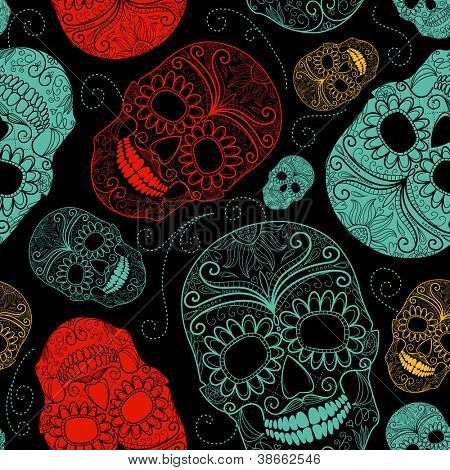 Seamless Blue, Black and Red background with skulls