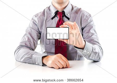 close up of a business man showing a blank business card