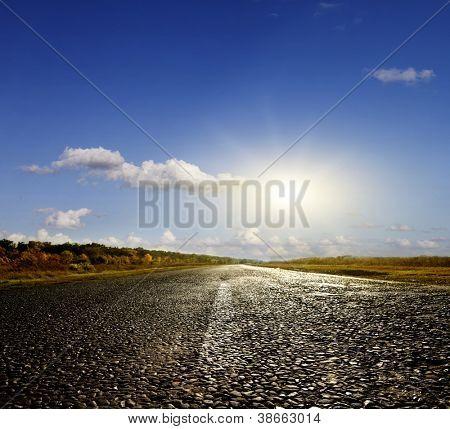 Asphalt road in the autumn sunny day