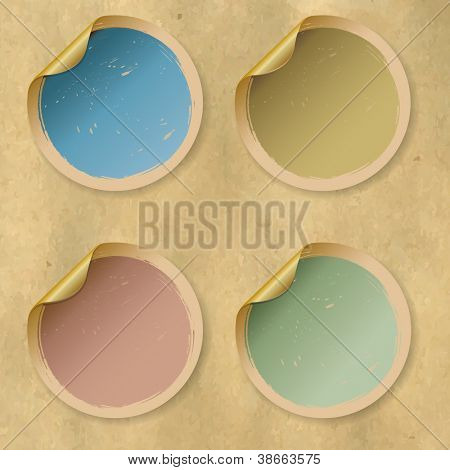 Retro Collection Vintage Labels, Isolated On Old Paper Background, Vector Illustration