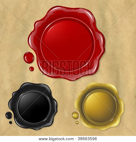 3 Wax Seal, Isolated On Old Paper Background, Vector Illustration