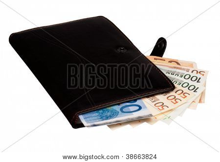 Heap of euro and notepad isolated on a white background
