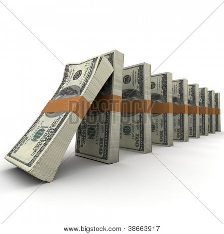 Domino effect with stacks of hundred dollar bills