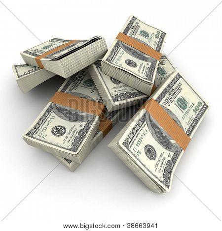 Lots of stacks of hundred dollar bills