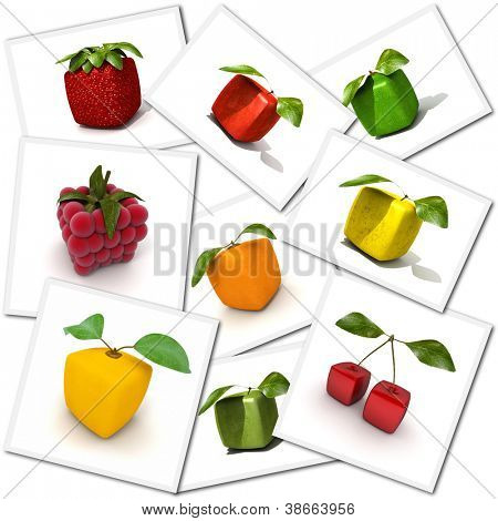 Collection of cubic fruit renderings