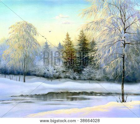 schöne Winterlandschaft, Leinwand, Öl