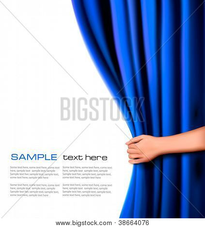 Hintergrund mit blauer Samtvorhang und Hand. Vektor-Illustration.